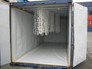 Garments On Hangers or GOH for Sea & Air Shipping, viewing an empty HOG container