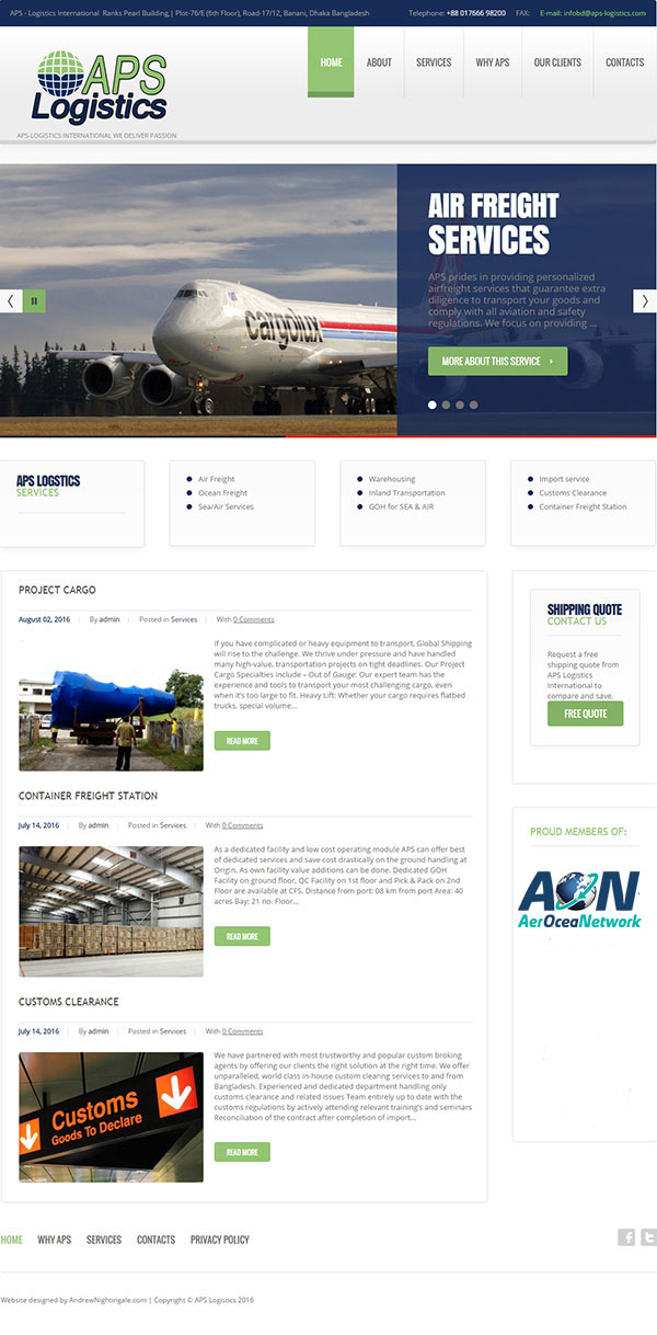 The APS-Logistics website